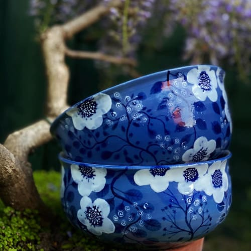 Cups by Jaime Fernandez Muro. MUROPOTS. seen at Creator's Studio, London - Muropots Botanic Gardens Limited, hand made and painted bowl