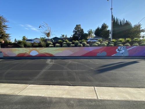 Murals by Trent Thompson seen at The Well at Sunset, Livermore - From morning to night.