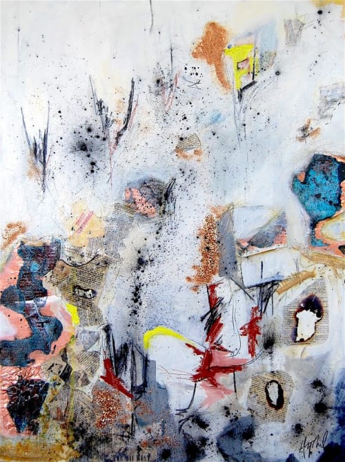 Paintings by Hilary Tait Norod seen at Private Residence, Naples - Three mixed media paintings in private residence