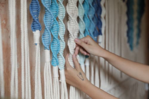 Macrame Wall Hanging by Agnes Hansella seen at Private Residence, Jakarta - BLUE SWIRLS