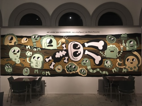 Murals by Doodkonijn seen at Natural History Museum Rotterdam, Rotterdam - The life of a dead bunny