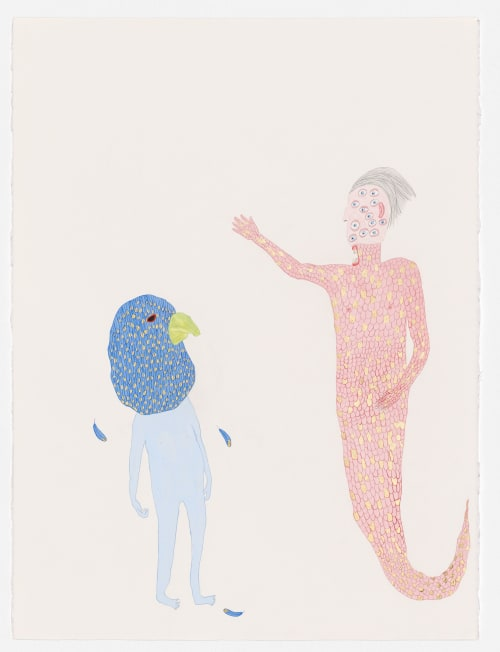 Paintings by Pip Ryan seen at Private Residence, Melbourne - Merman and Budgie, watercolour, gouache, composition gold leaf, pencil on paper, 2019, 76 x 56cm