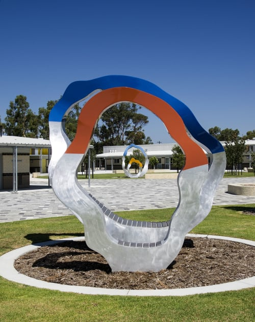 Public Sculptures by Tony Pankiw seen at Aveley North Primary School, Aveley - Trans Portals