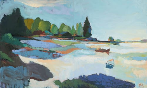 Paintings by Andrew Faulkner seen at ICB Artists, Sausalito - Inlet (diptych)