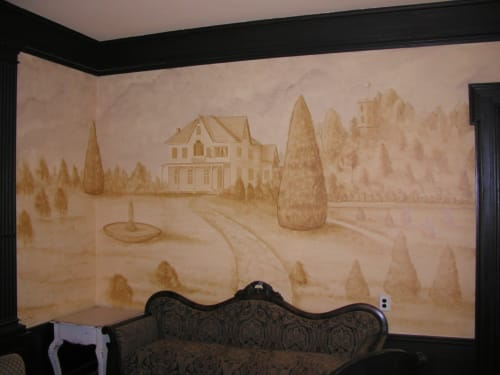 Murals by BOGUE ART STUDIOS Decorative Finishes, Murals, Fine Art & Architectural Painting for Interiors seen at Private Residence, Lockport - Monochromatic Mural