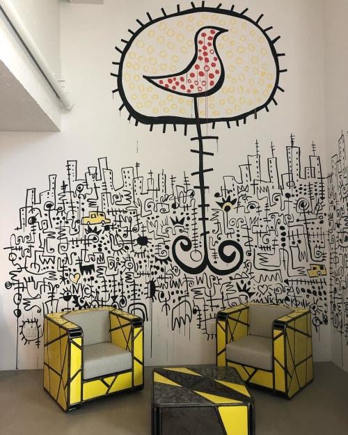 Murals by Victor Ekpuk seen at The Africa Center, New York - Harlem Sunrise