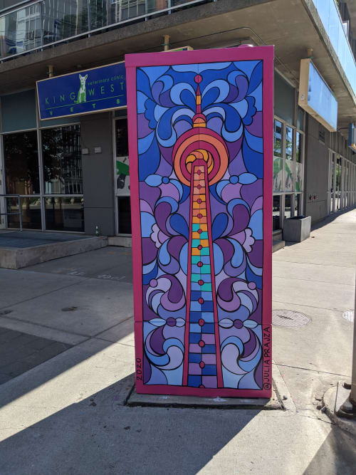 Street Murals by Julia Prajza seen at King Street West & Shaw Street, Toronto - Tower of Glass - Utility Box for the City of Toronto