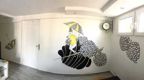 Murals by Kris Goto seen at Private Residence, Biscarrosse - Yellow Surfer - Mural