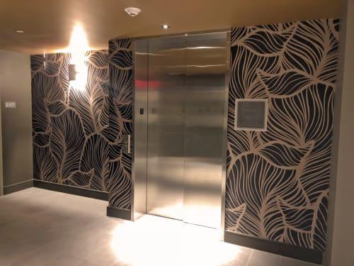 Wallpaper by Organik Creative at The McAdams Apartments, Houston - Leaf Pattern Wallcovering
