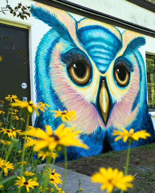 Murals by Ekaterina Sky Art seen at Teatown Lake Reservation, Ossining - The Great Horned Owl Mural