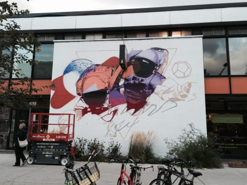 Murals by FIVE8 seen at Montreal, Montreal - Purple Reign, 2014