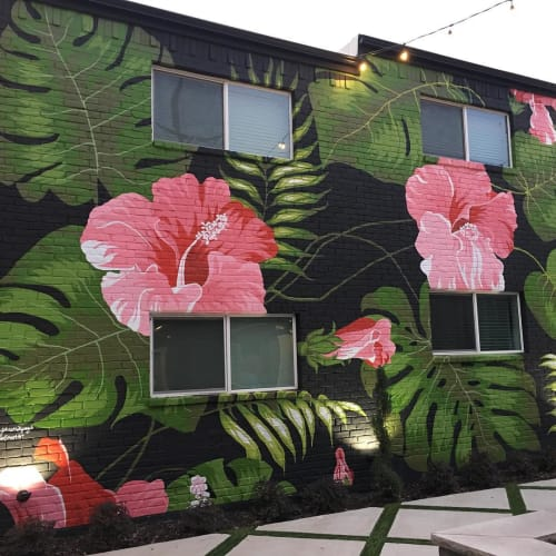 "Murals by Sheri Johnson-Lopez seen at 4505 Cedar Springs Rd, Dallas - ""Hibiscus"" mural"