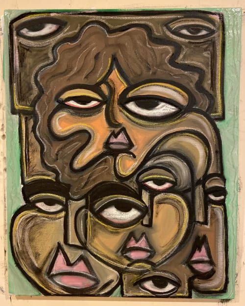Paintings by Stefano Luigi Guida seen at Private Residence, Peekskill - Faces on Seafoam Ground