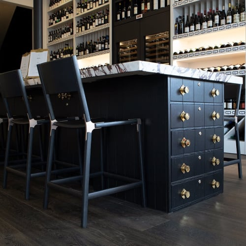 Chairs by Fyrn seen at Verve Wine, San Francisco - Linden Counter Stool