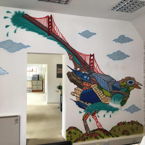 Murals by Andy Council seen at Torchbox, Charlbury - Wagtail mural