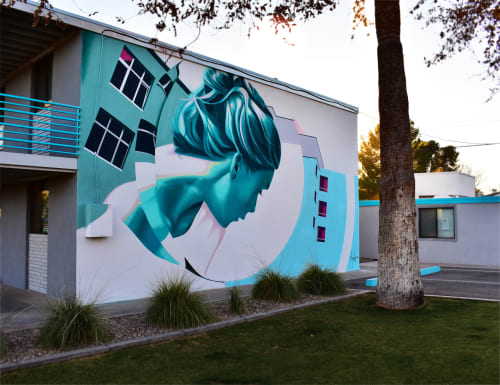 Street Murals by Clyde seen at Private Residence, Tempe - Woman In a Dream