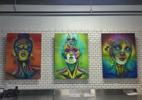 Paintings by Steven Lopez seen at LABrewatory, Portland - Rolled Up Queens Painting