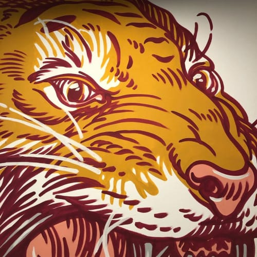 Murals by Luca Maleonte at One Shot Agency, Milano - Tiger Mural
