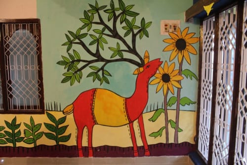 Murals by Aravani Art Project seen at Banashankari, Bengaluru - Library for Children mural