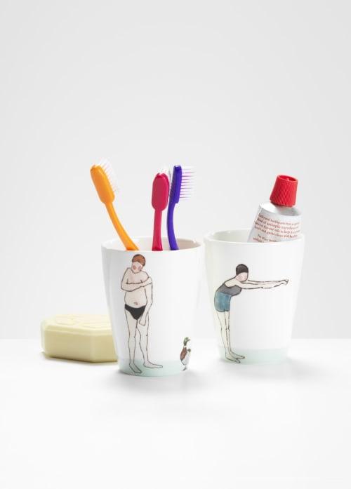 Cups by Helen Beard Ceramics seen at Dalston Hackney, London - Swimmer beakers