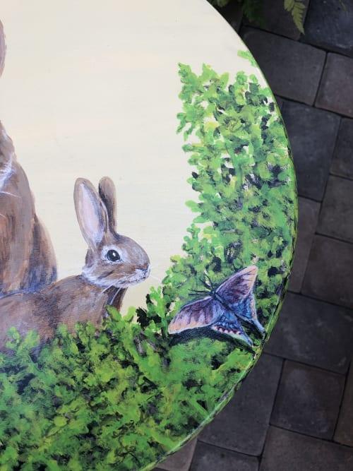 Art & Wall Decor by Lara Eve Studios seen at Orange County Fine Arts/Showcase Gallery, Santa Ana - Crazy Leg Bunnies & Butterflies Kitchen Stool