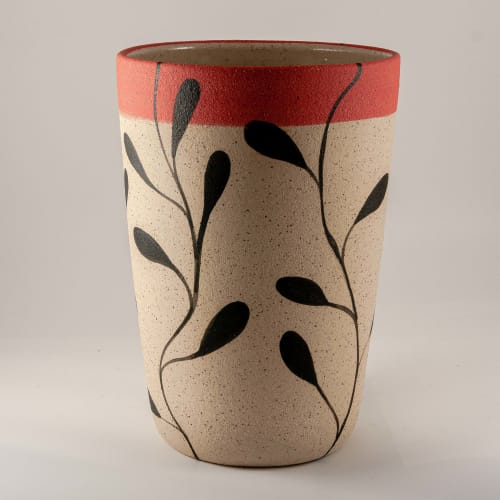 Large stoneware vase in 'Foliage' design   Vases & Vessels by Kyra Mihailovic Ceramics