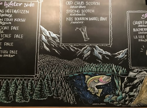 Signage by Priscilla Perez seen at Backcountry Burger Bar, Bozeman - Drinks Menu Boards