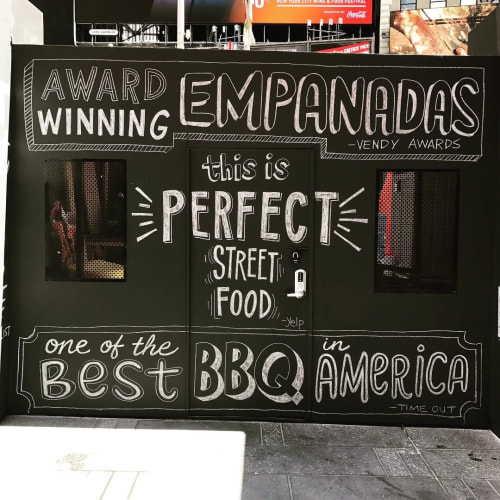 Signage by Very Fine Signs seen at Garment District Holiday Market By Urbanspace, New York - Chalk Lettering