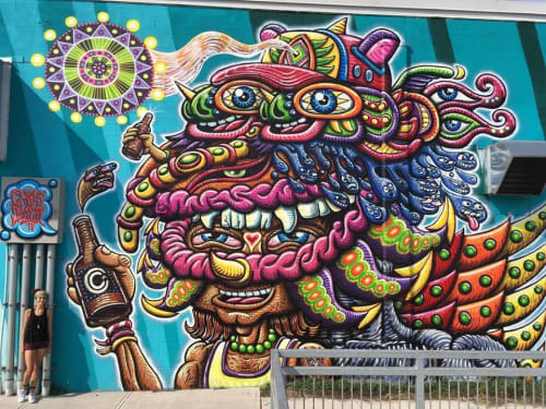 Street Murals by Chris Dyer seen at Collective Arts Brewing, Hamilton - Beer Mask