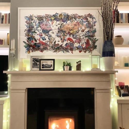 Paintings by Kristjana S William seen at Private Residence, London - Gull Fiskar - World map 2017 - Art Print