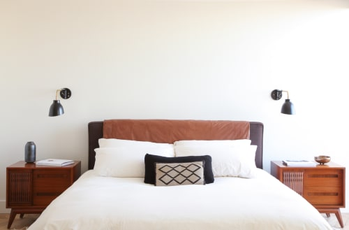 Beds & Accessories by Shelter Half seen at Private Residence, Malibu - Custom leather and hemp bed in collaboration with Heather Heron.