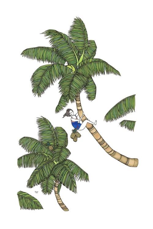 "Art & Wall Decor by Kris Goto seen at Kris Goto Studio, Honolulu - ARTWORK - Coconut Girl 24"" by 36"" Pen on Bristol Paper"