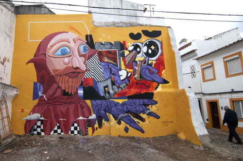 Street Murals by Le Funky seen at Evora, Evora - Cabeçudo Above the Clouds - Colab. w/ Julio Quirino