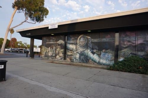 """Murals by Los Dos Streetscapers/East Los Streetscapers seen at Culver City DMV, Los Angeles - Moonscapes 1 """"On the Tail of the Comet"""