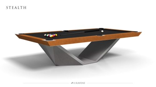 Tables by 11 Ravens seen at Private Residence, Miami - Custom Stealth Billiards Table for Mojo Stumer Associates Mi