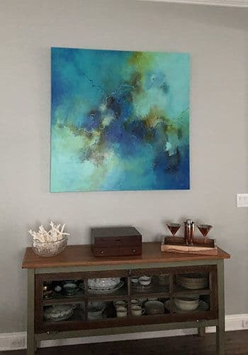 "Paintings by Christina Doelling, Abstract Artist seen at Private Residence - ""Blue Happiness"" 