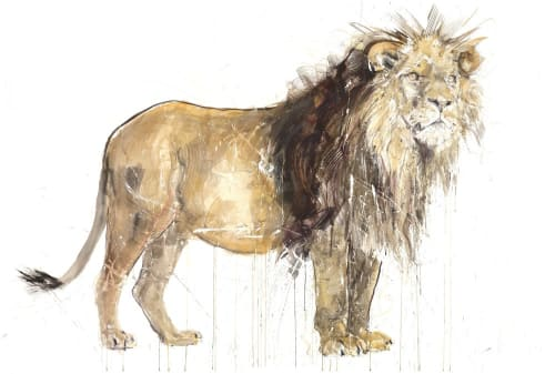 Paintings by Dave White seen at Private Residence, Chicago - Lion