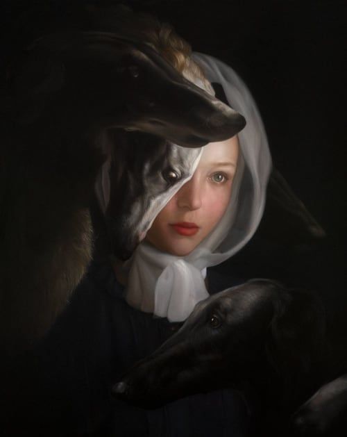 Paintings by Ksenia Buridanova seen at Creator's Studio, Rostov-on-Don - Portrait of a girl with borzois