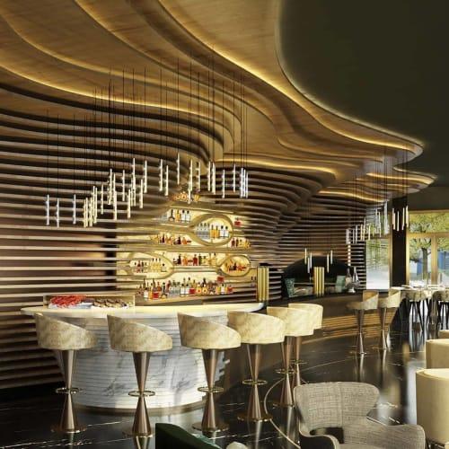 Pendants by ILANEL DESIGN STUDIO seen at The Ritz-Carlton, Astana, Nur-Sultan - 'RAIN' Light Drops