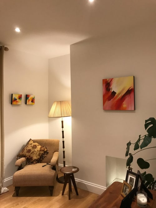 "Paintings by Jude Caisley seen at Private Residence, London - ""The Embrace"" painting and ""Wonder"" Diptych painting"