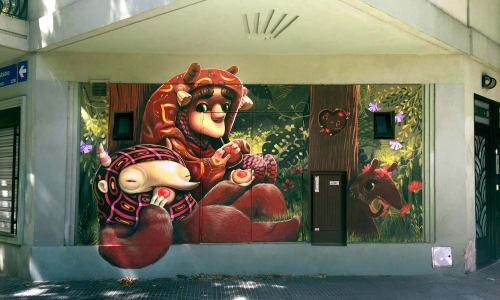 Street Murals by Animalitoland seen at Moldes 3199, Núñez - Mate, Pepa y Pepita
