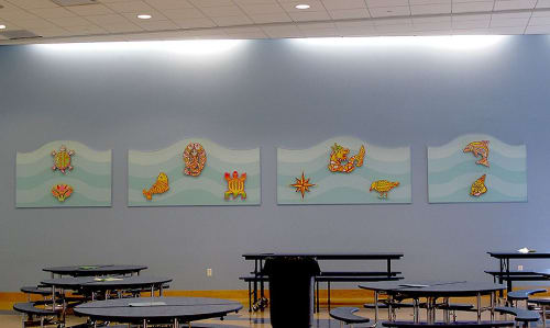 Murals by Francine Funke seen at Rogers International School, Stamford - Symbols of the Sea