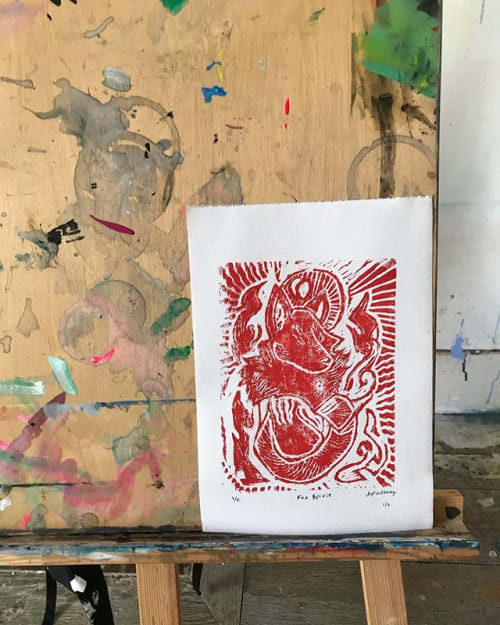 Art & Wall Decor by AmaizInk Art & Design seen at Private Residence, Orquevaux - Fox Spirit 8x10 Lino Print