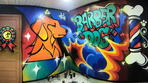 Murals by Fábio Panone seen at Barber Dog Shop, Vila Rio Branco - Barber Dog Mural