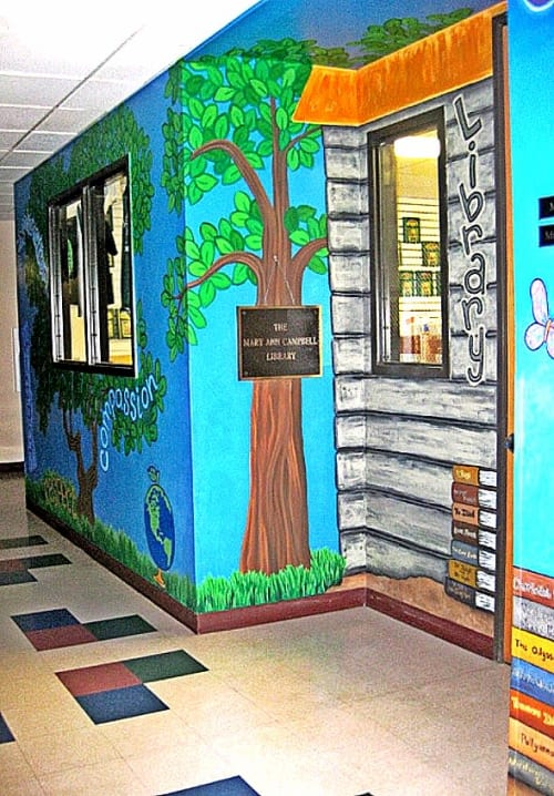 Murals by Christine Rose Curry seen at Littleton Academy, Littleton - Library Mural at Littleton Academy Charter School