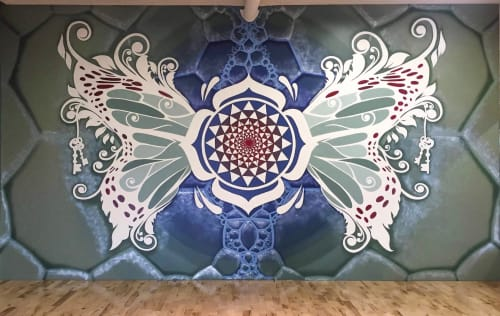 Murals by Urbanheart seen at Evolved Movement Arts, Calgary - Sacred Butterfly Mural