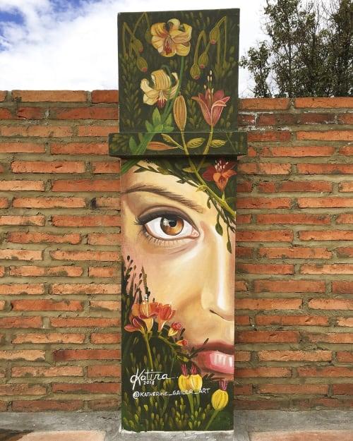 Murals by Katherine Gailer - AKA Katira seen at Casa Kilele, Bogotá - Mural - 'Flourishing'