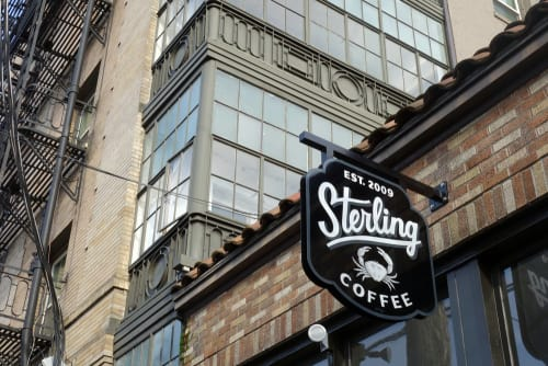 Signage by J&S Signs seen at Sterling Coffee Roasters, Portland - Sterling Coffee Sign