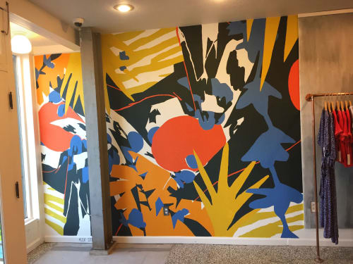 "Murals by ALEX STEELE seen at Dandelion Post, Oakland - ""In Full Bloom"" mural"