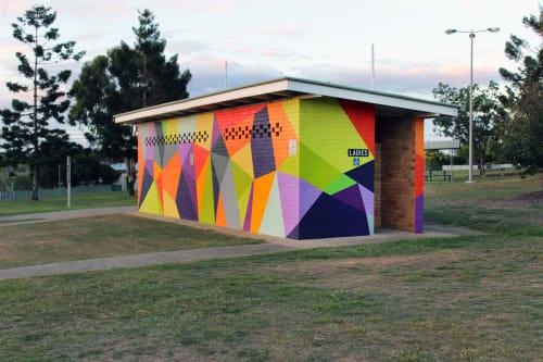 Murals by Karri McPherson seen at Mile End Park, Warwick - 'Serendipity'